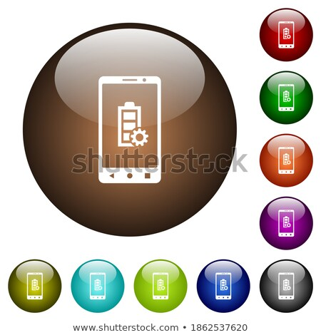 Rounded buttons displaying a charging battery Stock photo © bluering