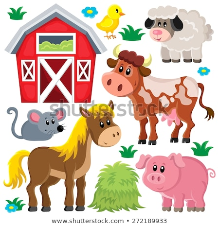 farm · állatok · kép · tavasz · boldog · művészet · nyár - stock fotó © bluering