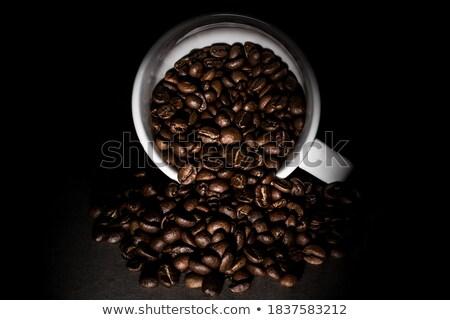 Mug fèves blanche café feuille verre Photo stock © bluering