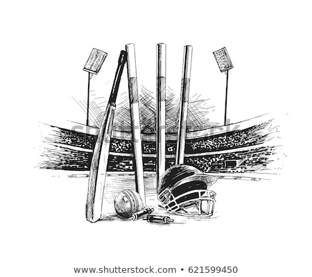 a sketch of a cricket player stock photo © bluering