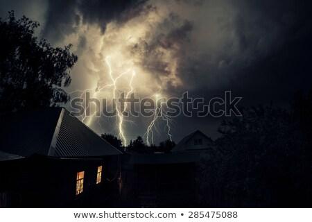 Nacht onweersbui gebouwen stad abstract natuur Stockfoto © Phantom1311
