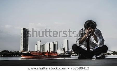 fegyveres · üzletember · sziluett · fekete · eps · 10 - stock fotó © Istanbul2009