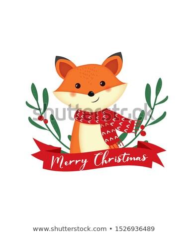 赤 キツネ クリスマス 実例 木材 雪 ストックフォト © adrenalina