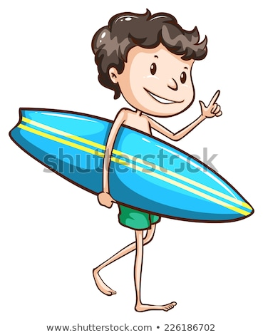 A simple drawing of a boy going to the beach with a surfing boar Stock photo © bluering