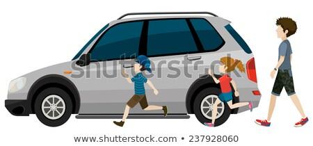 Kids running near the parked vehicle Stock photo © bluering
