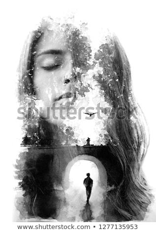çift maruz kalma portre seven çift Stok fotoğraf © dariazu