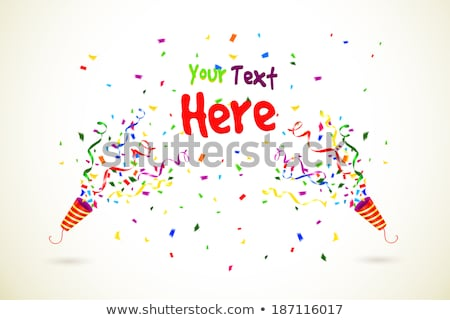 exploding party popper with colorful serpentine and confetti seamless pattern on red background stock photo © evgeny89