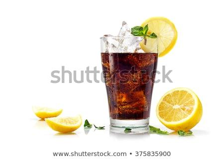 Kóla citrom jég izolált üveg háttér Stock fotó © DzoniBeCool