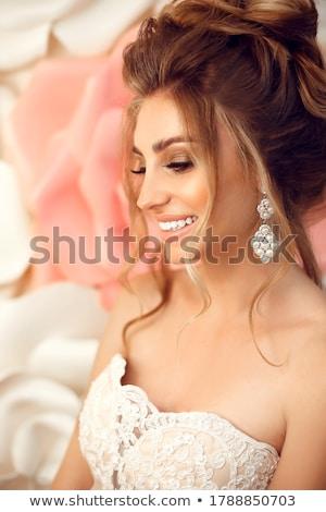 menyasszony · autó · portré · fiatal · lány · visel · fehér - stock fotó © pumujcl