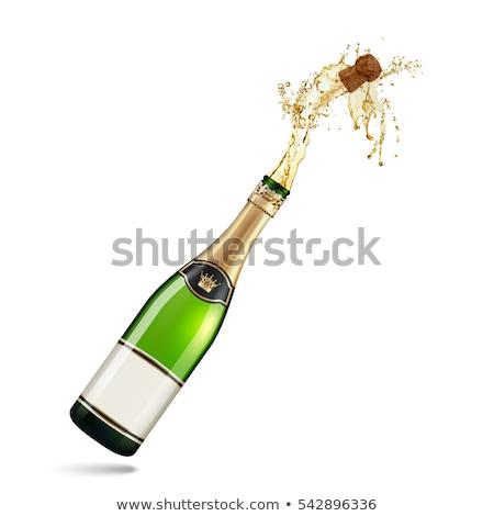 şişe metin tebrikler mutlu yıllar parti şarap Stok fotoğraf © AvHeertum