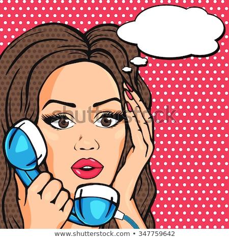 Stock photo: Surprised Pop Art Woman Chatting On Retro Phone Comic Woman Wi