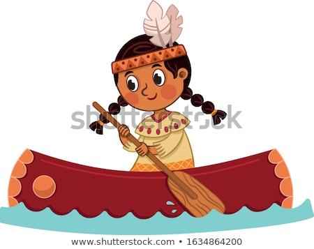 Indian on canoe Stock photo © adrenalina