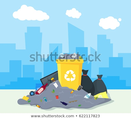 Trashcan and pile of trash on the street Stock photo © bluering