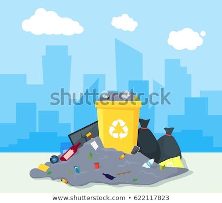 Stockfoto: Prullenbak · straat · illustratie · voedsel · muur