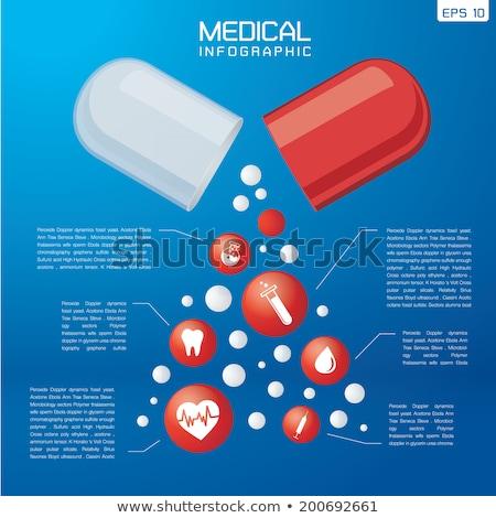ストックフォト: 医療 · ピル · インフォグラフィック · 青 · 薬 · 標識