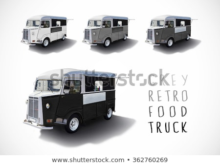 Set of grey food caravans, isolated Stock photo © dawesign