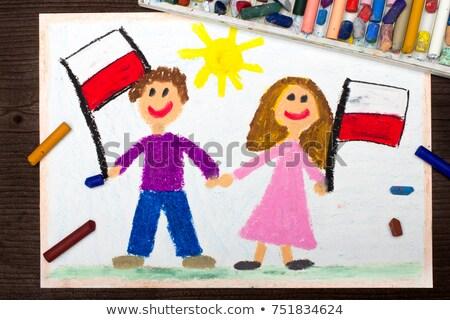 Nina bandera ninos feliz Foto stock © bluering
