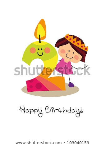Two designs of birthday card template with kids and presents Stock photo © bluering