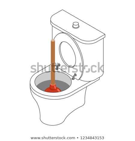 Toilet bowl and suction cup isometric. Restroom Stock photo © popaukropa