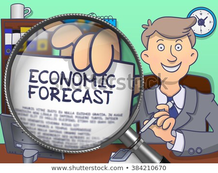 Ekonomiczny prognoza obiektyw gryzmolić człowiek Zdjęcia stock © tashatuvango