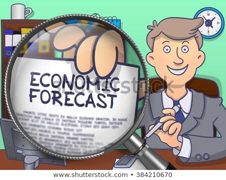 Economisch prognose lens doodle man tonen Stockfoto © tashatuvango