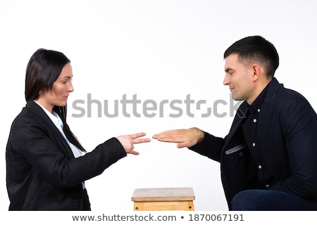 escritório · conflito · homem · mulher · isolado · branco - foto stock © elnur