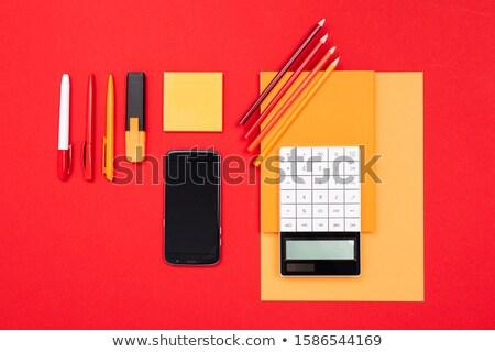 irodaszerek · piros · asztal · kép · üzlet · iroda - stock fotó © deandrobot