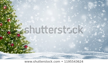 christmas background with snowy fir trees stock photo © konstanttin