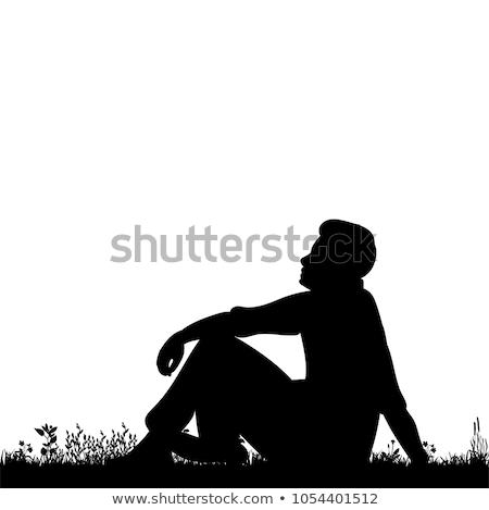 Coppia seduta albero uomo urbana divertimento Foto d'archivio © IS2