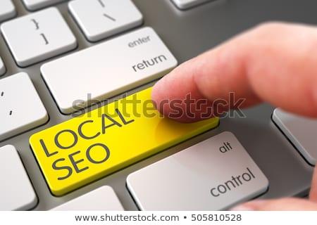 Stockfoto: Hand Finger Press Local Seo Keypad 3d
