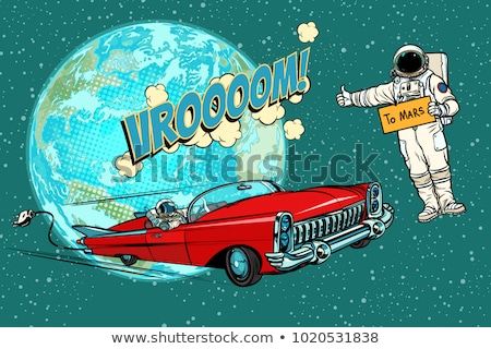 Hitchhiking astronaut waiting for the electric car in space. fli Stock photo © studiostoks