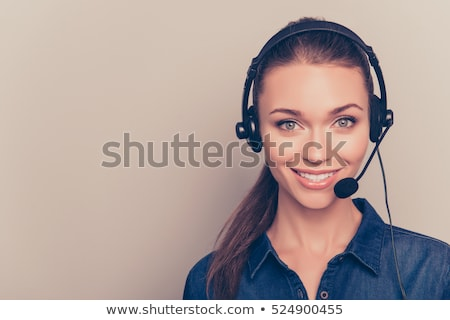 female call center agent talking stock photo © is2