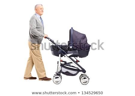 Grootvader naar baby kinderwagen gras man Stockfoto © IS2