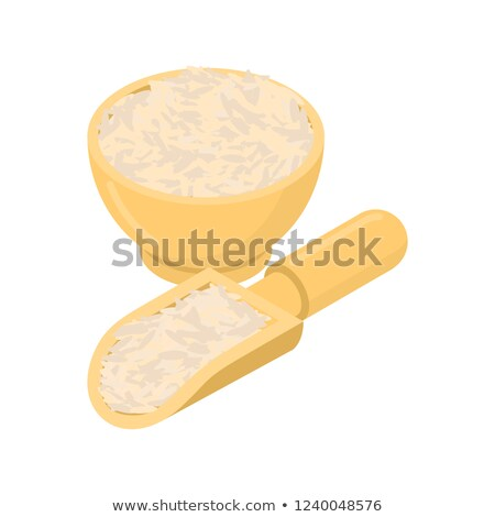 parboiled rice in wooden bowl and spoon groats in wood dish and stock photo © maryvalery