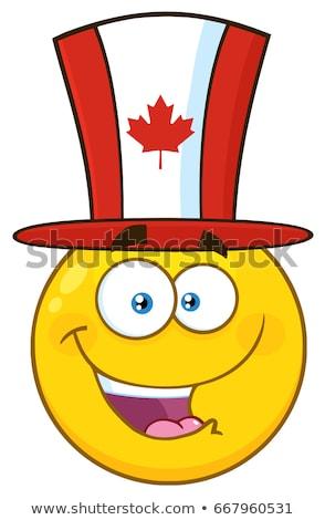 Happy Patriotic Yellow Cartoon Emoji Face Character Wearing A USA Hat Stock photo © hittoon