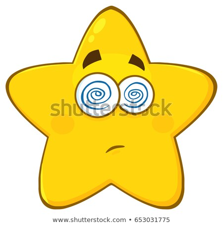 dazed yellow star cartoon emoji face character with hypnotized expression stock photo © hittoon