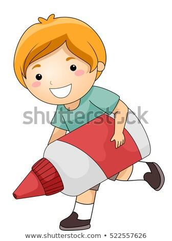 Kid jongen groot lijm illustratie cute Stockfoto © lenm