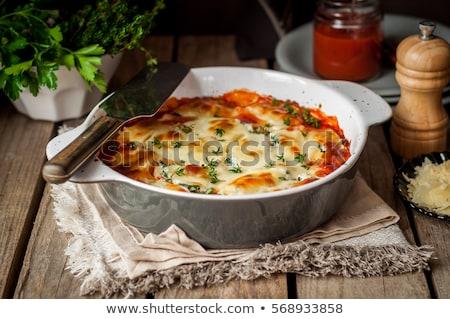 Stok fotoğraf: Lazanya · sığır · eti · kabak · gıda · ahşap · akşam · yemeği