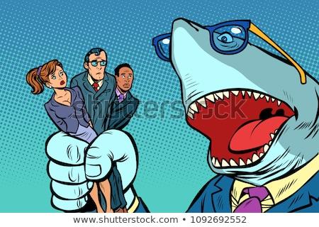 zangado · tubarão · diversão · desenho · animado · estilizado · água - foto stock © rogistok