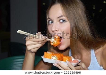 довольно · еды · суши · ресторан - Сток-фото © lightpoet