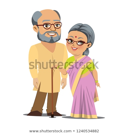 Senior Indian man and woman couple stands together Stock photo © vectorikart
