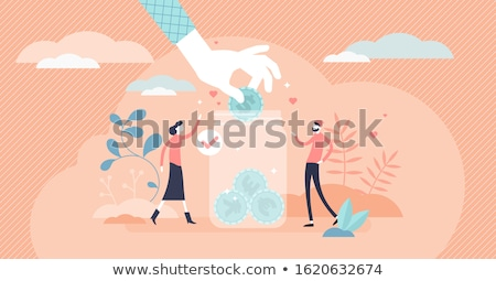charity jar people with money vector illustration stockfoto © robuart