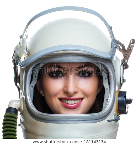 Glimlachende vrouw astronaut witte pop art retro Stockfoto © studiostoks