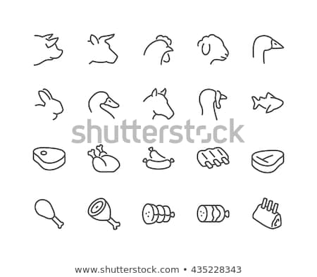 Meat icon set vector Fresh and grilled meat icons set. Steak, shrimp, chicken leg, sausages, ribs, p Stock photo © MarySan