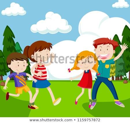 人 3  レース 実例 少女 子供 ストックフォト © bluering