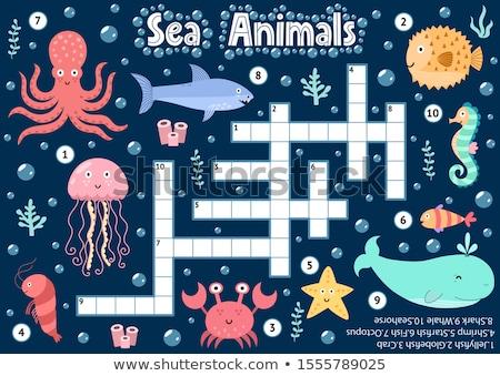 Vadállatok keresztrejtvény sablon illusztráció művészet rajz Stock fotó © bluering