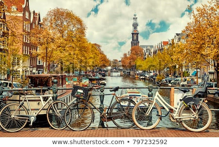 Canal Amsterdam automne jour Pays-Bas ciel Photo stock © neirfy