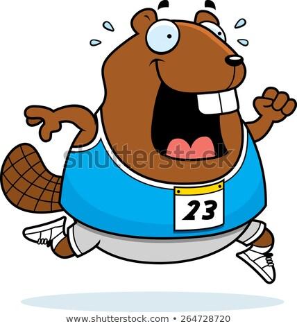 cartoon beaver running stock photo © cthoman