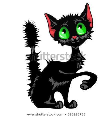 funny sly black cat with green eyes and mangy tail isolated on white background cute homeless anima stock photo © lady-luck