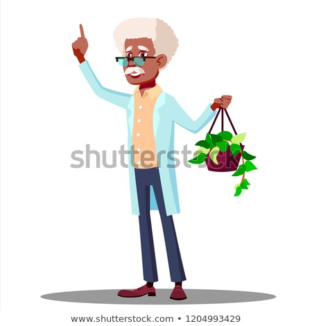 teacher in a white coat showing plant to students in biology class vector isolated illustration stock photo © pikepicture
